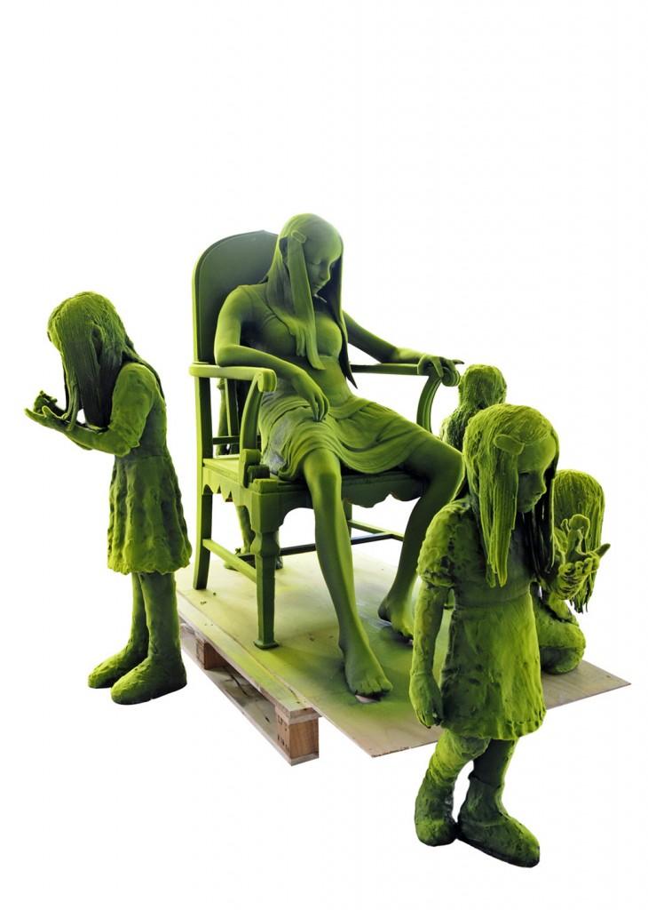 Kim Simonsson. Sleeping Mosswoman With Ghosts (2015). Ceramics, nylon fibre, wooden chair. Size 229 x 203 x 127 cm.