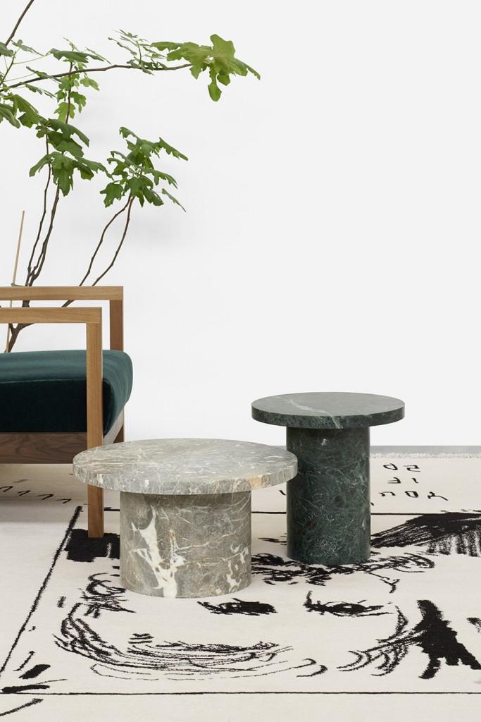 Enoki Migoto for E15: Stone Stools. Gris des Ardennes, Verde, Vaneeka.
