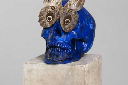 Claudio Parmiggiani: Senza titolo (1997). Pigment, butterfly, stone. Size 35 x 17 x 23 cm.