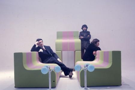 """""""Sofo"""" by Superstudio - From left: Cristiano Toraldo di Francia, Adolfo Natalini, and Roberto Magris (photo courtesy Centro Studi Poltronova)"""