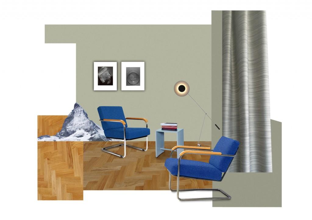 Illustration © Studio Alfredo Häberli - Floor Lamp «TYPE 600», 1951, Rosmarie & Rico Baltensweiler, Baltensweiler - Ulm Stool, 1954, Max Bill, Wohnbedarf - Moser armchair mod. 1435, 1930, Werner Max Moser, Embru