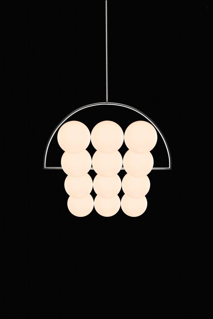 Niclas Jørgensen (D-DK), Stadium Light, chandelier of satin polished stainless steel and opaline mouth blown glass spheres, cm 56H x 56W x 43D, 2016. ©Niclas Jørgensen