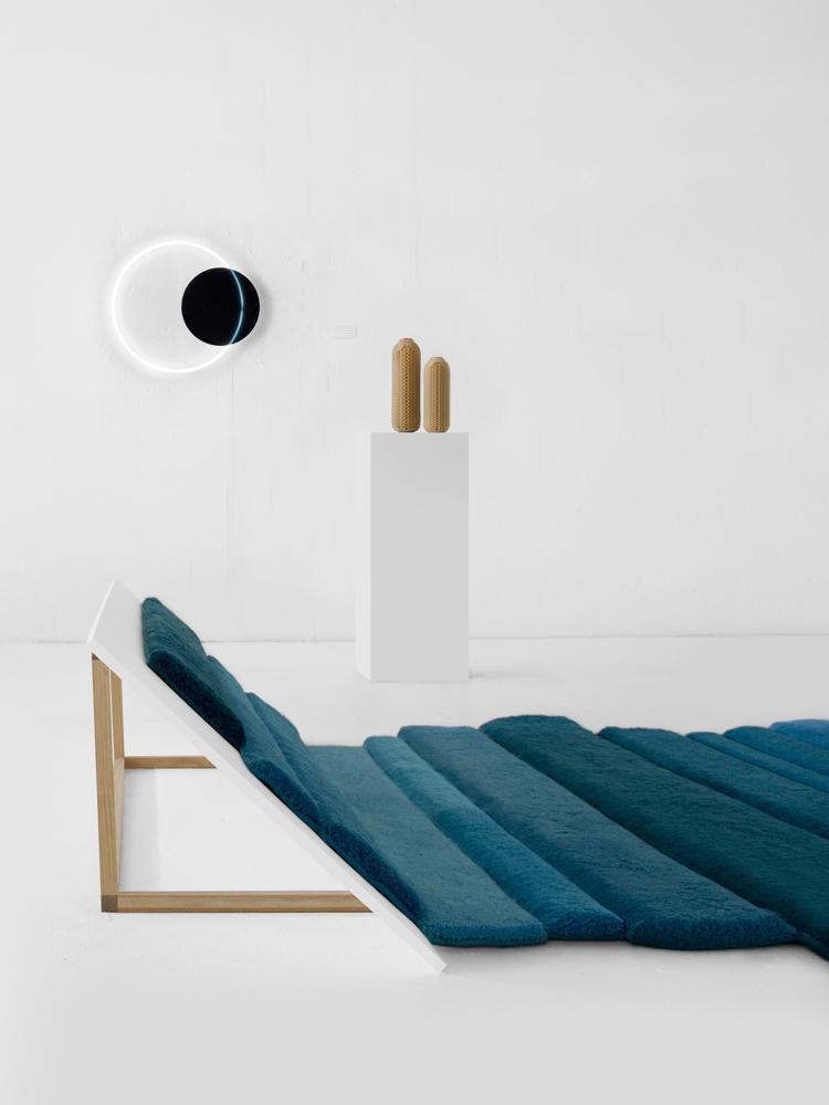 Marre Moerel: Flux carpet ( Limited Edition of 5), Sabine Marcelis: Voie light (in a exclusive color for Aybar in a Limited Edition of 5 pieces), Talia Mukmel Revolve bottles ( Limited Edition of 8 )
