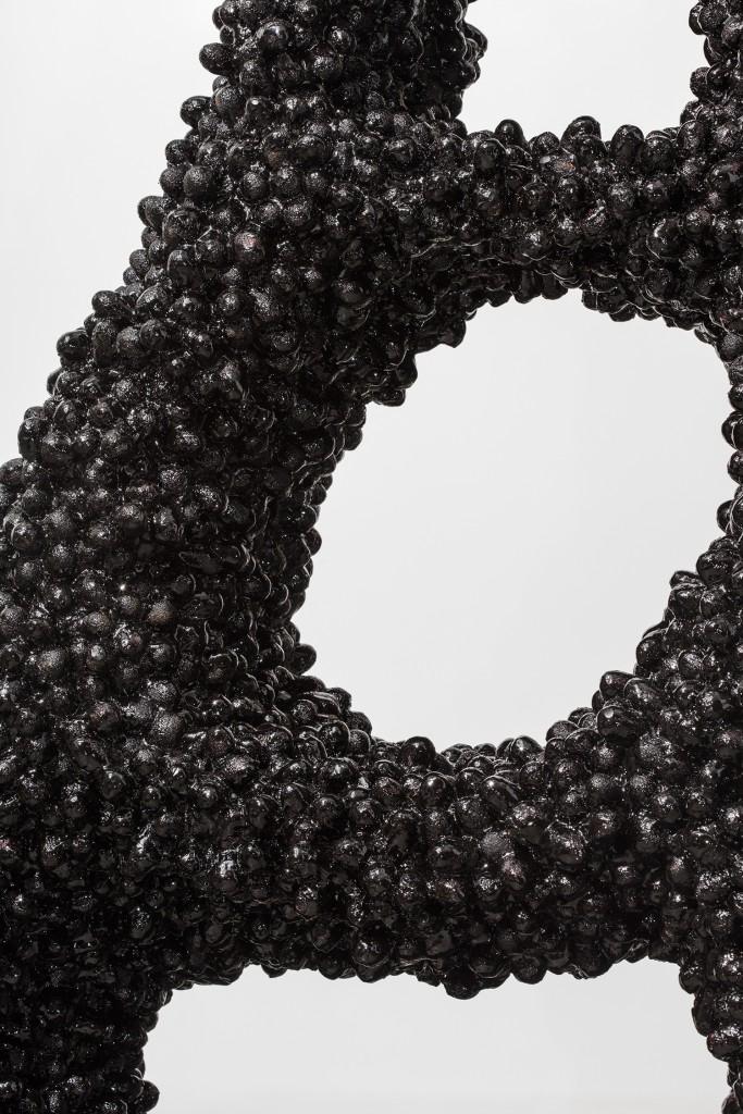 Cocoon #1 by Marlène Huissoud, Honeybee bio resin, pine wood, silkworm cocoons, 59h x 24w x 24d in.