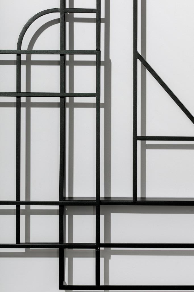 Foldwork Triptych by Studio Berg, Black coated brass 44.09h x 87.40w x 3.74d in