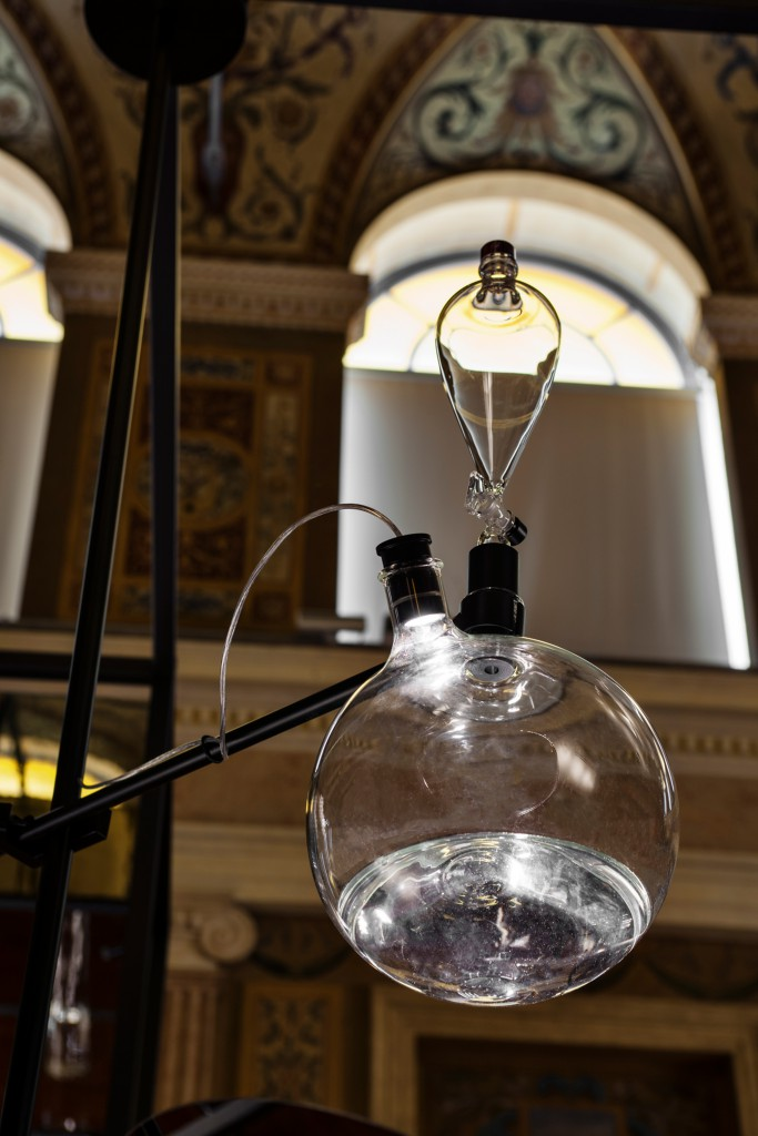 Detail of Fluid lamp by Nao Tamura at installation during Milan Design Week