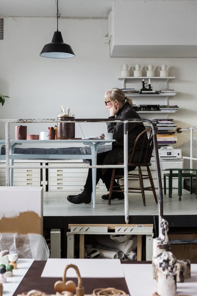 Mia E Göransson in her studio, photo by Mikael Axelsson