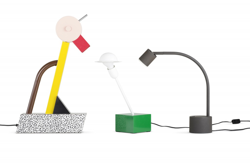 Left: Tahiti, table lamp, 1981, Manufacturer: Memphis Middle: Nr. 20084, Don, table lamp, 1977, Manufacturer: Stilnovo spa, Right: Halo Click, table lamp, approx. 1988, Manufacturer: Philips. Photo: Jürgen Hans. Courtesy of Vitra Design Museum.
