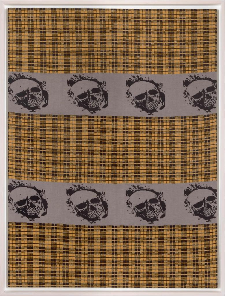 Untitled (gelb-schwarz mit Totenköpfen), 1990 knitted wool 78 3/4 x 59 1/8 in. (200 x 150 cm.) 82 7/8 x 63 1/4 x 3 1/2 in. (210.5 x 160.5 x 9 cm.) framed
