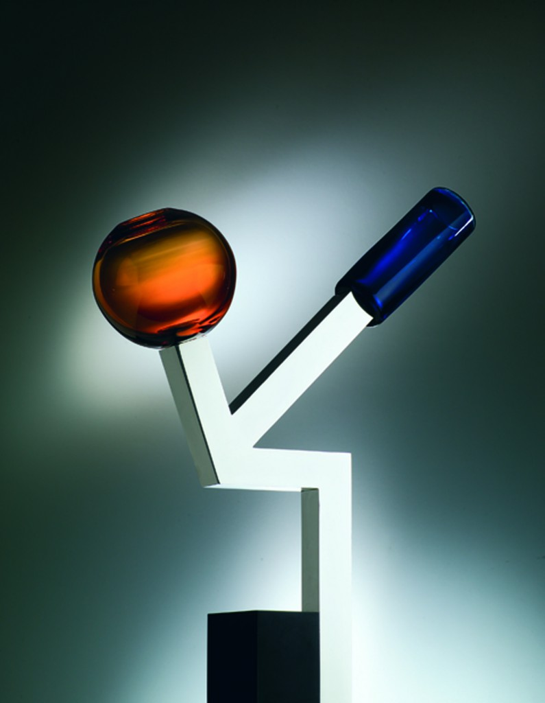 Ettore Sottsass [Italian, 1917-2007] Vase no. 24, 2006 Glass and aluminum on corian base Edition of 9. Courtesy of Friedman Benda