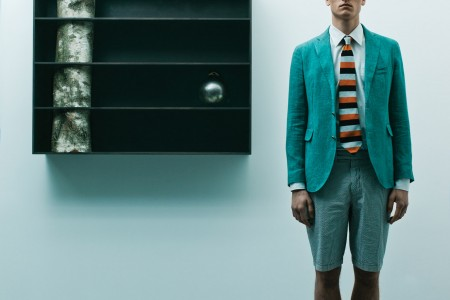 white poplin cotton shirt, tie - DRIES VAN NOTEN, green linene jacket with beige suede elbow patches - SMALTO, blue and white striped cotton shorts - POLO RALPH LAUREN, moccassins - ACNE / objects: tree 2 - ANDREA BRANZI, the heron - MARTIAL RAYSSE, japanese ritual object