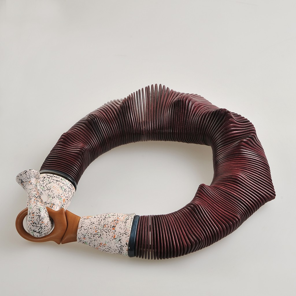 Necklace in amaranth, peroba rosa and painted maple, 2013