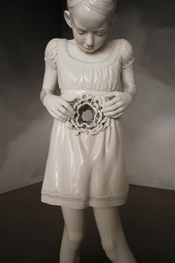 May Snevoll von Krogh Angels trumpet and the milky moon violin, 2010 installation - ceramic sculptures, modeled, hand built hollowed, girl: spray painted, animal figure: glazed                                                        Photo: Artist