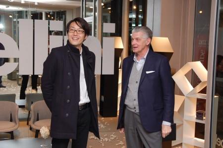 Cappellini Parigi gennaio 2015 Oki Sato e Giulio Cappellini