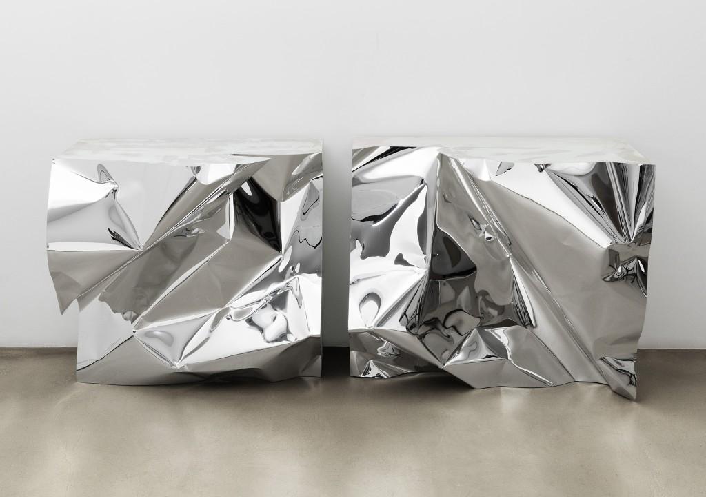 Crush console tables. Aluminium, wood, resin. Size 1850 x 500 x 800 mm.