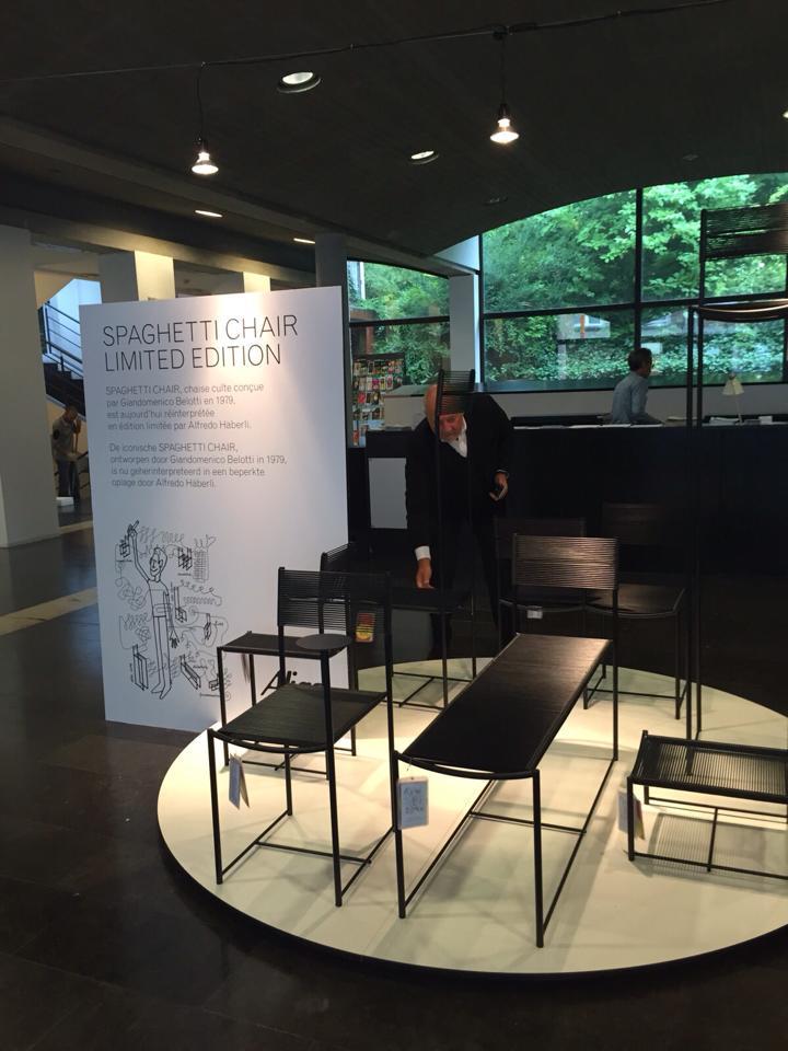 Renato Stauffacher, CEO Alias Design, checking the last details of the Spaghetti Chair installation by Alfredo Häberli, Alias, limited edition, 2015 at the CIVA in Brussels