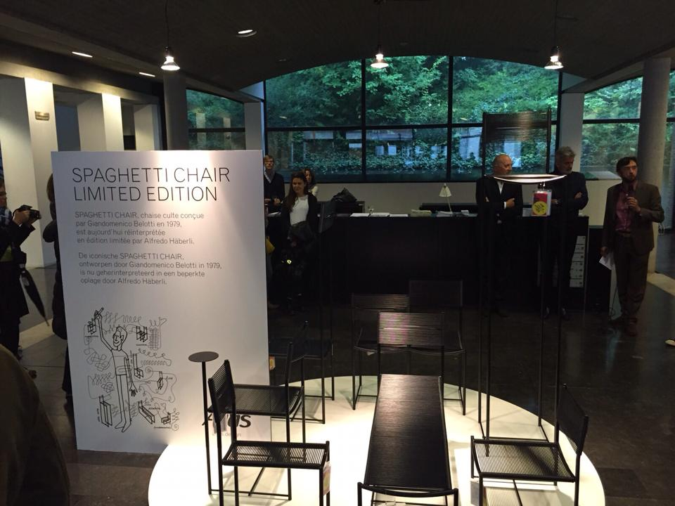 The Spaghetti Chair installation before the speeches at CIVA, Brussels, 16 Sept 2015
