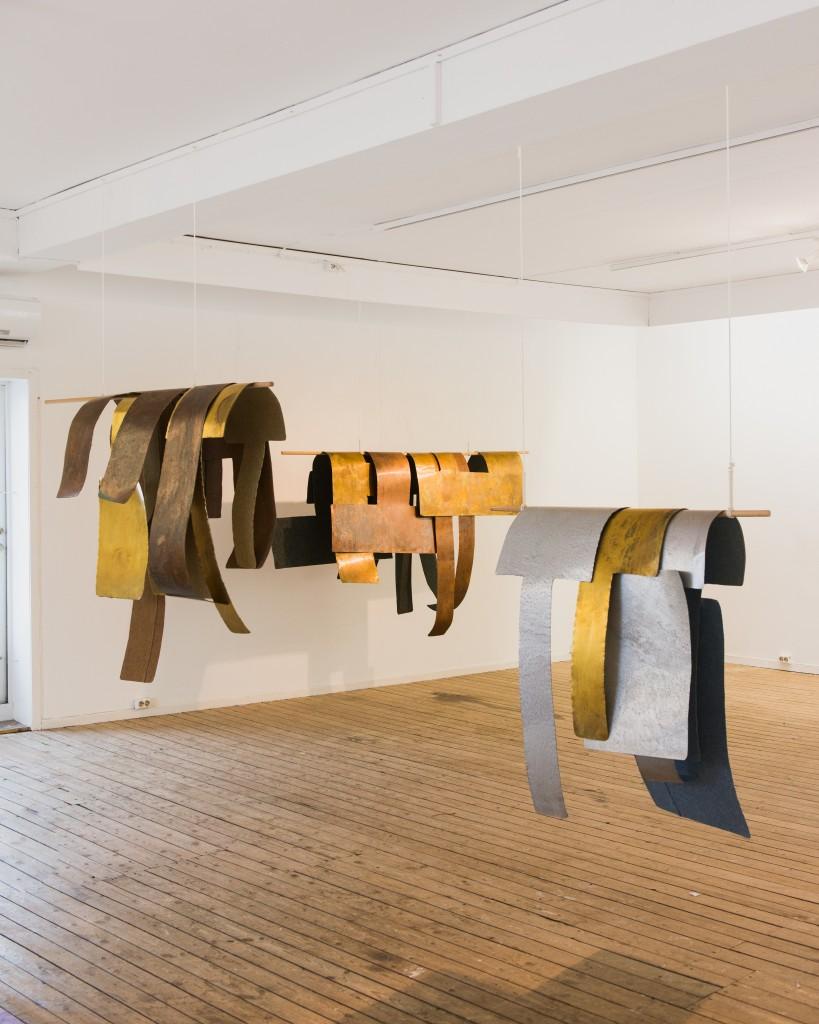 Ulnar, volar and Sugar, textile sculpture, felt, brass, aluminium, wood, string, 2013