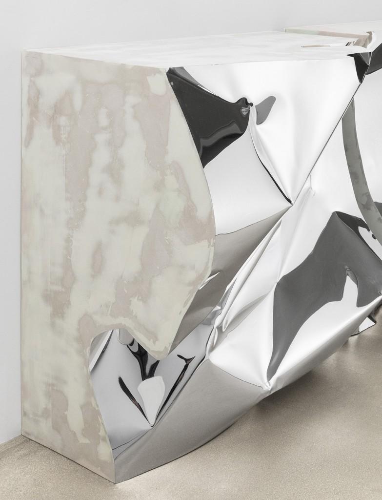Crush console table. Aluminium, wood, resin. Size 1850 x 500 x 800 mm.