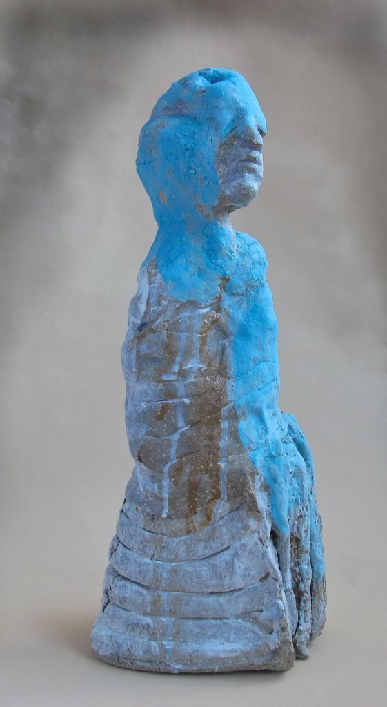 Figurines, sculptures in ceramics, handbuilt glazed stoneware, 2012