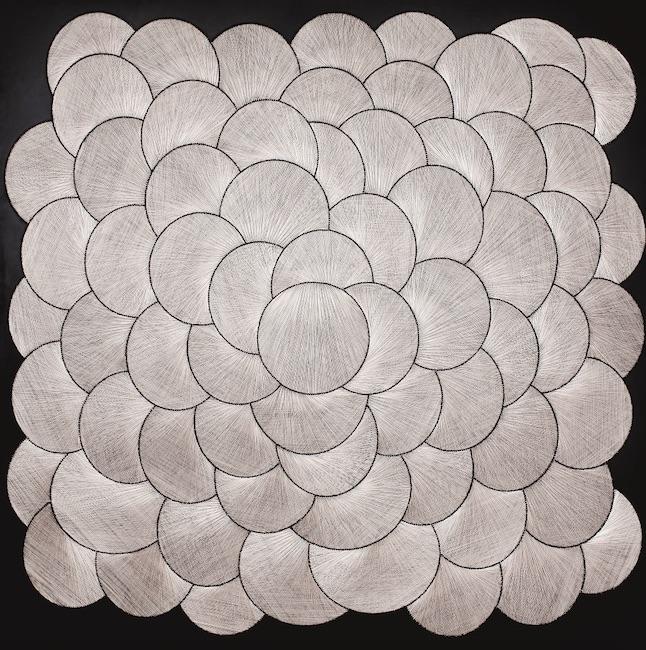 Gülay Semercioglu. 'Silver Circles', 2011; Wire, screw, wood; 175 x 175 cm