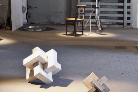 Delphine Lewandowski: COG2 Glazed ceramics.  At the back: Petra Leino: If Only for a Moment Installation.  Photo Louise Desnos