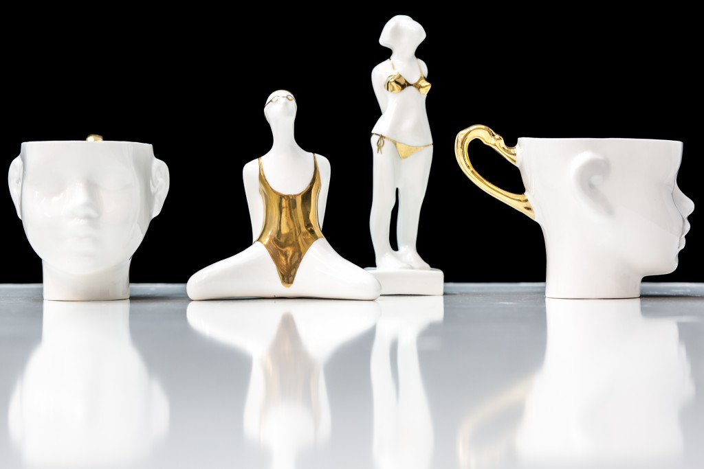 Figurines and figurative tea cups are handpainted