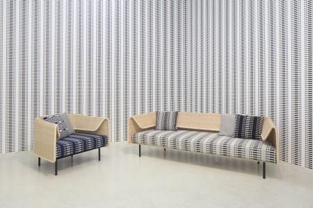Johanna Gullichsen's Doris pattern on Yamakawa Rattan's Fruit Bowl sofa designed by Hiroomi Tahara.