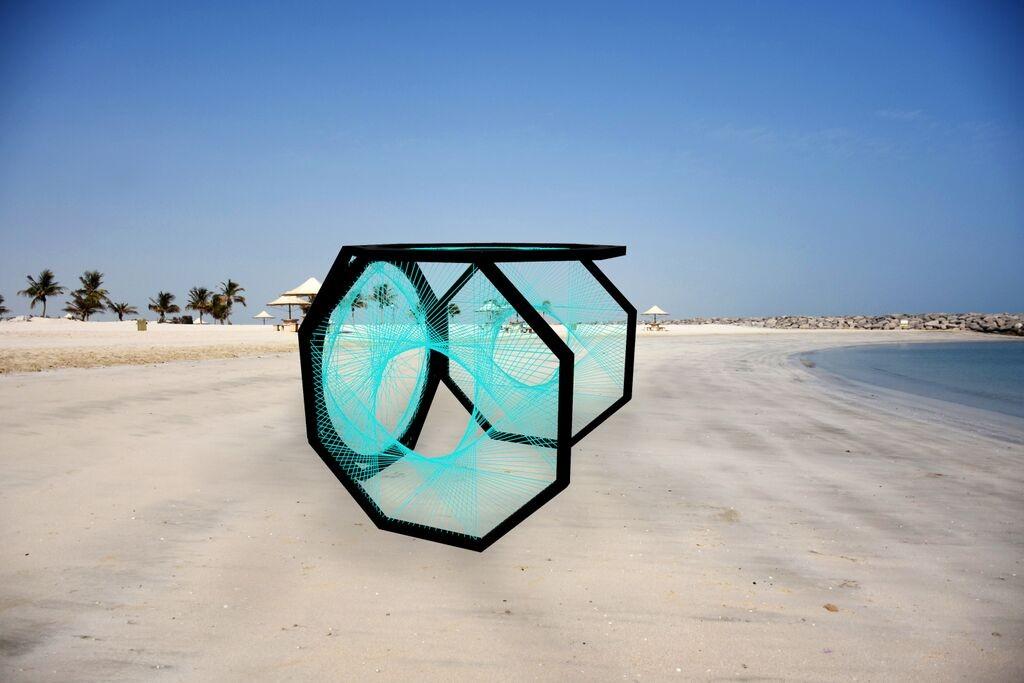Yaroof by Aljoud Lootah, installed on the beach at Dubai Marina