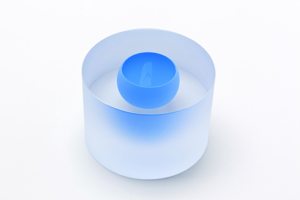 Clear Mat Cylinder with Floating Azure-Blue Bowl