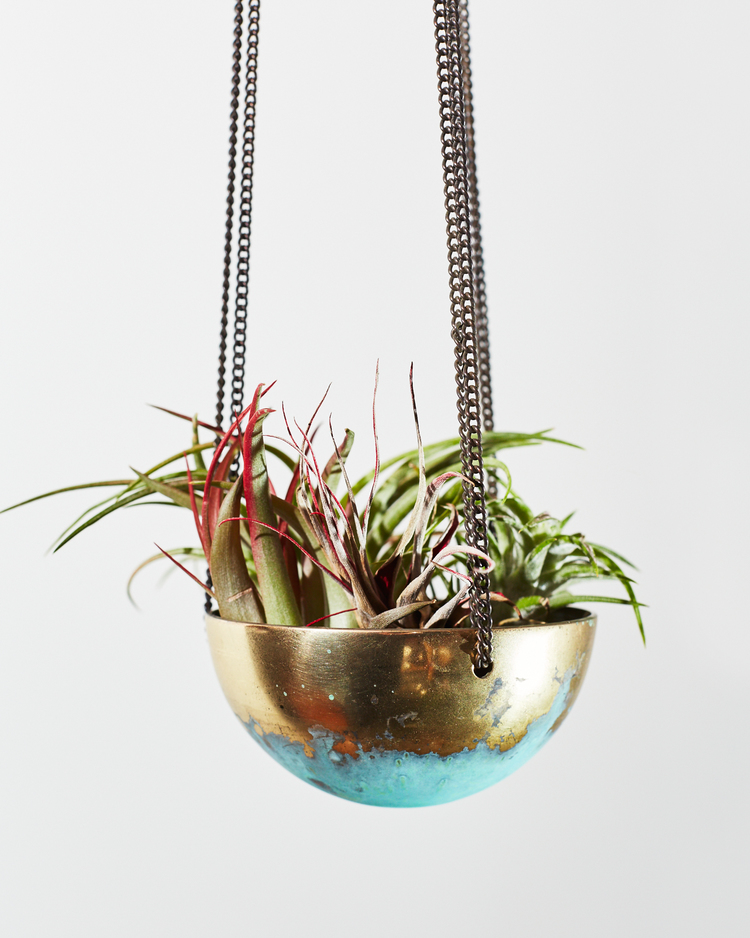 Hanging Planters (Brass Patina) by IN.SEK