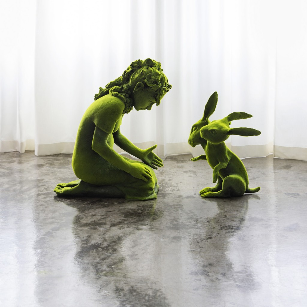 Kim Simonsson. Two-Headed Moss Bunny and Moss Girl (2015). Ceramic and nylon fibre. Size 38 x 101 x 76 cm.
