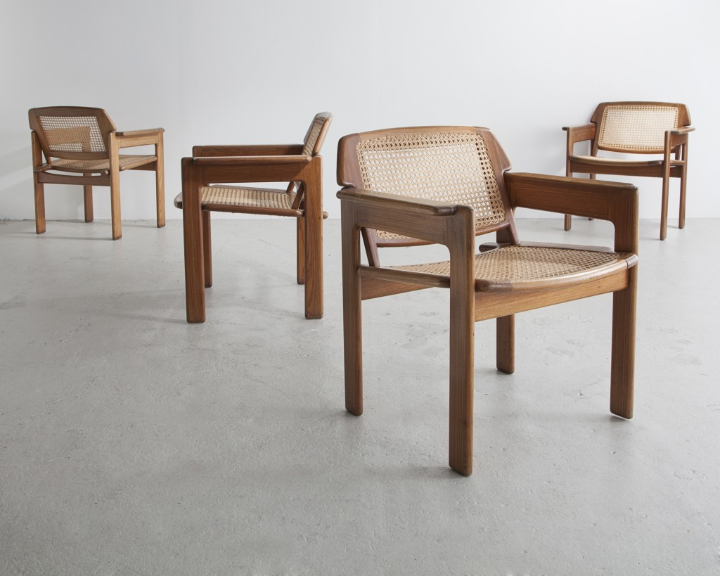 Set of four Julia chairs with solid hardwood frame and cane seat and back. Designed by Sergio Rodrigues, Brazil, 1980.