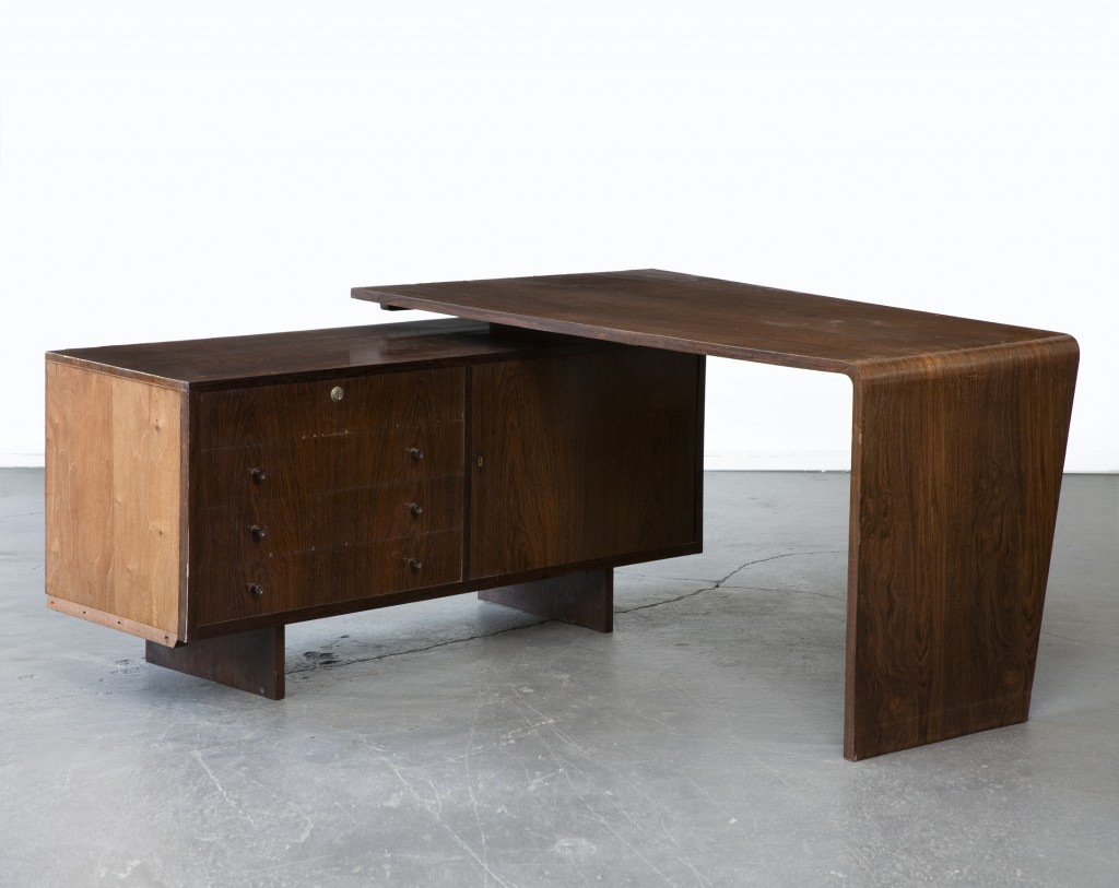 Desk in jacaranda. Designed by Joaquim Tenreiro for a private commission in the Flamengo neighborhood of Rio de Janeiro, Brazil, 1950s.
