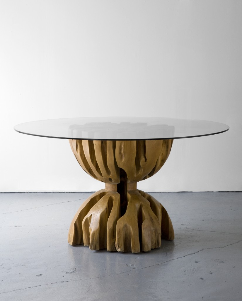 Root table in aquariquara wood with glass top. Designed by Jose Zanine, Brazil, 1970s. Included in the exhibition 'Zanine, L'Architecte et la Forêt' at the Musée d'Arts Décoratifs, Paris, 1989-90.