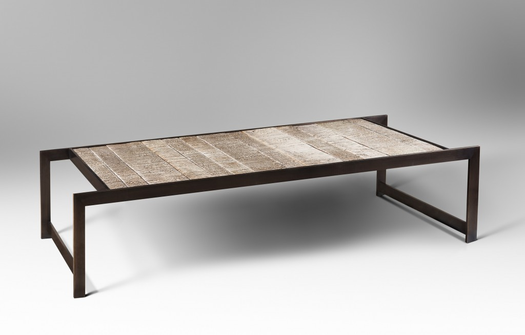 Birch Table in Bronze and Ceramic by Chahan Minassian in collaboration with Peter Lane