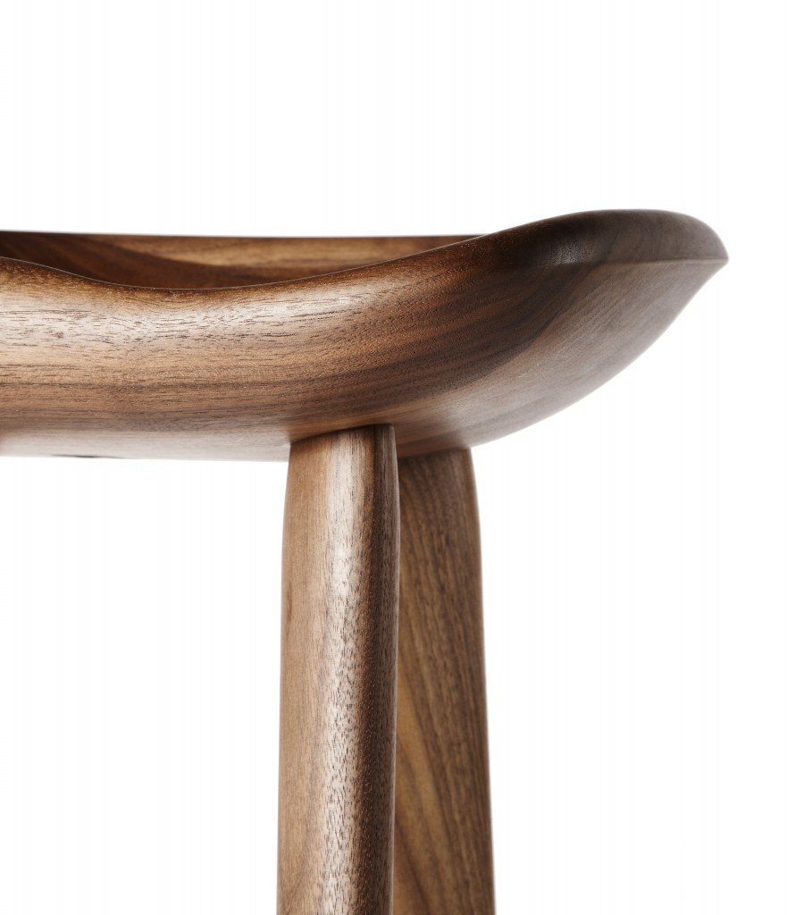 BassamFellows CB-21 Tractor Stool in carved solid walnut, side detail, credit MATTEO MENDIOLA