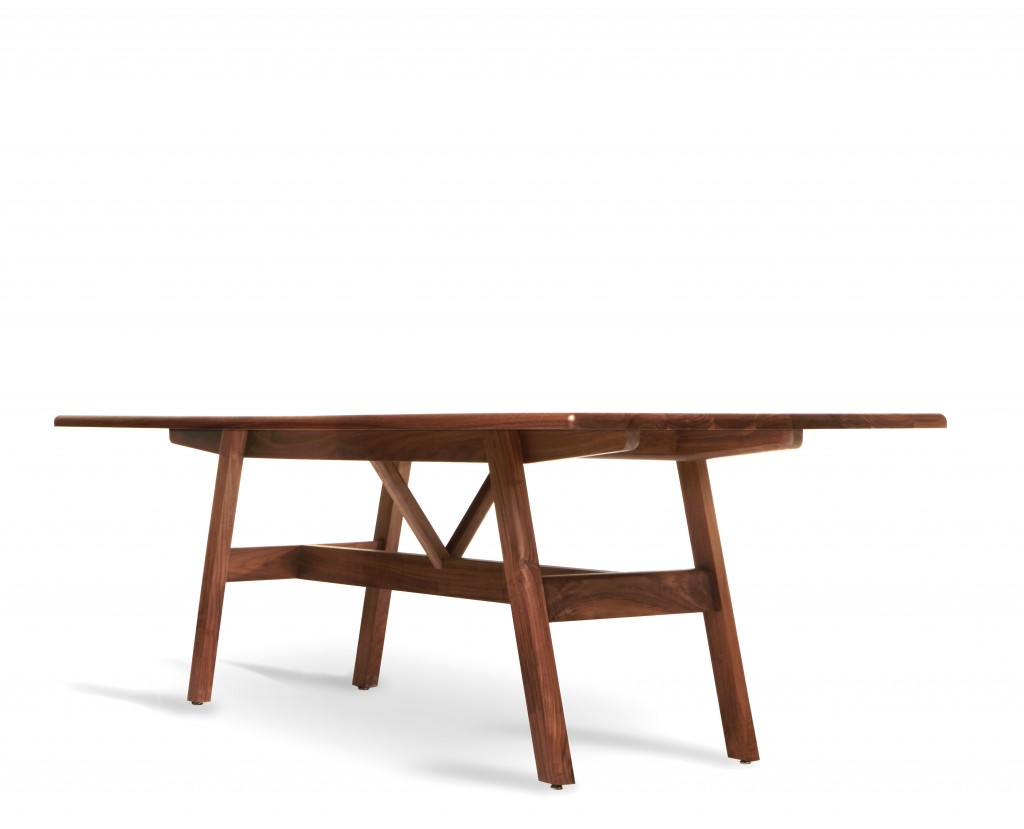 BassamFellows CB-393 Kant Table in solid Walnut 3-4 view, credit MATTEO MENDIOLA