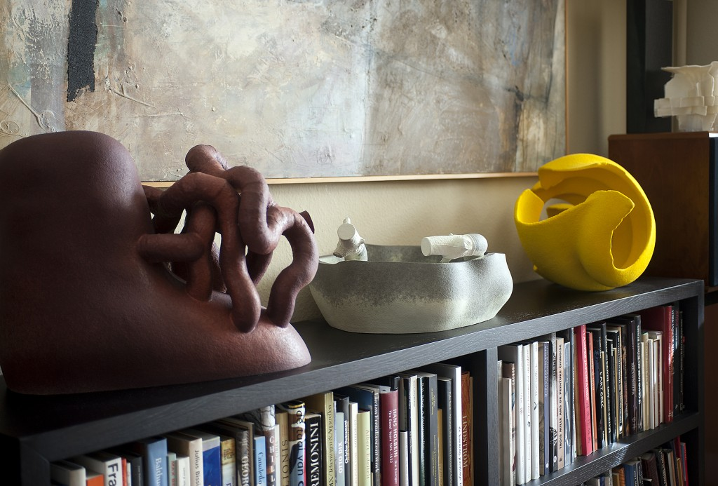 Works by Martin Bodilsen Kaldahl (DK) from his Knotpots series stand next to a bright yellow work by Barbara Nanning (NL). Photo Stephen Papandropoulos for TLmagazine.