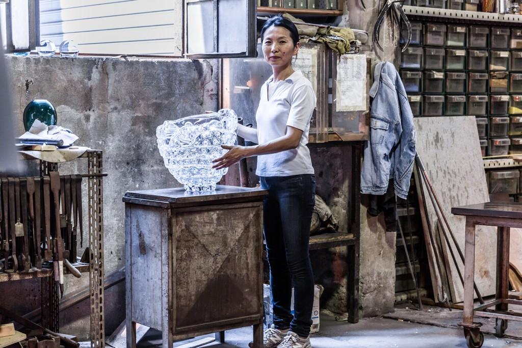 Ritsue Mishima. Anfora Glass Factory, Murano, Venice, Italy.