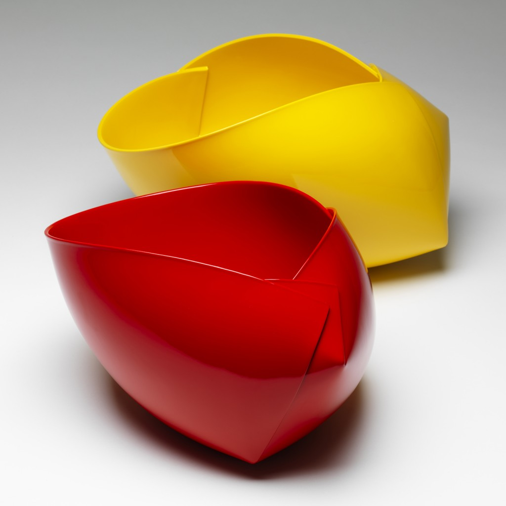 Ann Van Hoey: Vessel; 2013; earthenware and gloss paint; red H17x30x22cm. + yellow H20x27x35cm.; slab building and press molding