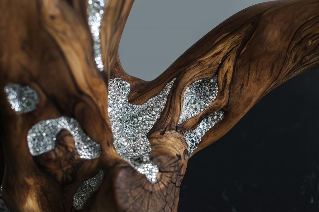Swarovski Crystal and Olive Wood by Amarist Studio, Barcelona Design Gallery