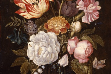 Douwes Fine Art BV. Ambrosius Bosschaert the Younger: Flower piece with roses, tulips, and other flowers in a cylindrical glass on a stone ledge with a pansy and a red admiral butterfly (circa 1625). Oil on panel. Size 32.5 x 20.3 cm.