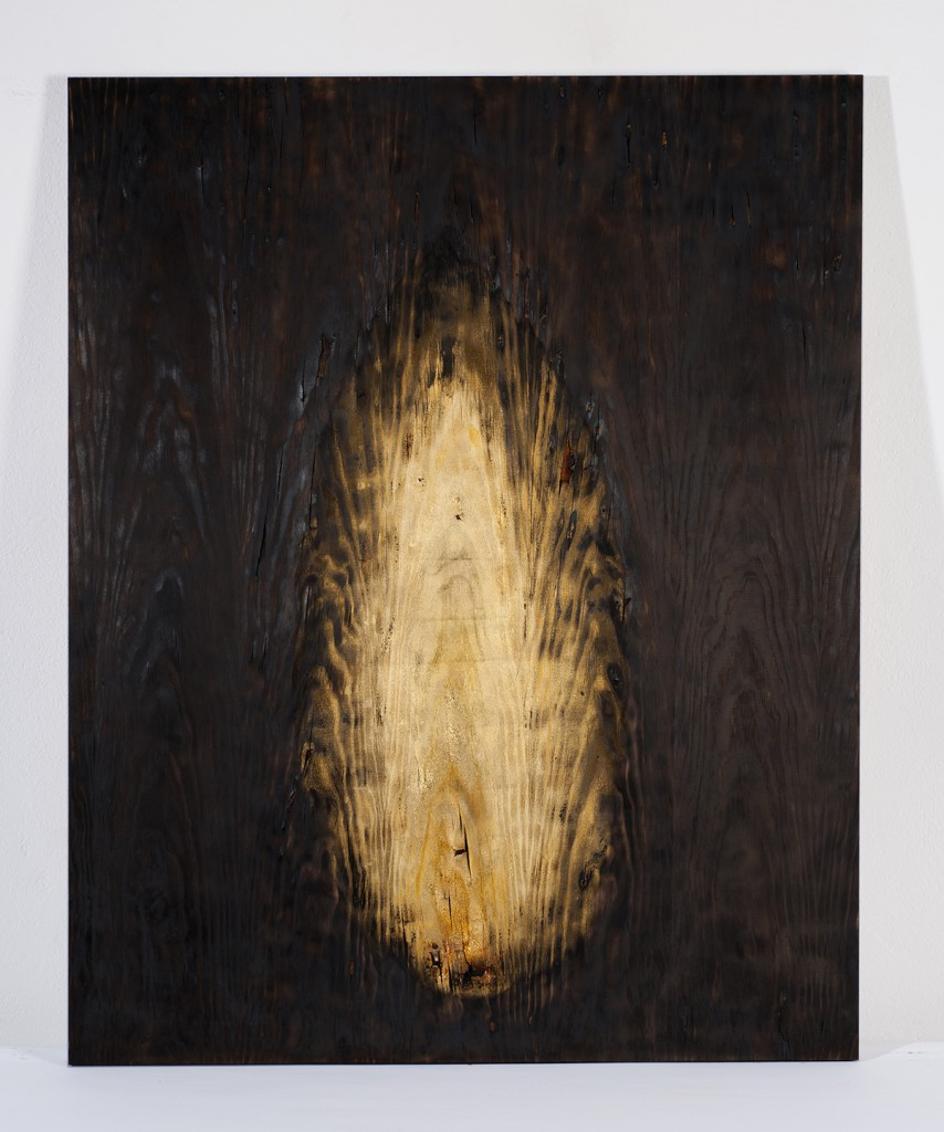 Fabrice Samyn: Untitled (2016). Burned wood and gold leaves. Size 32,5 x 25,5 cm.