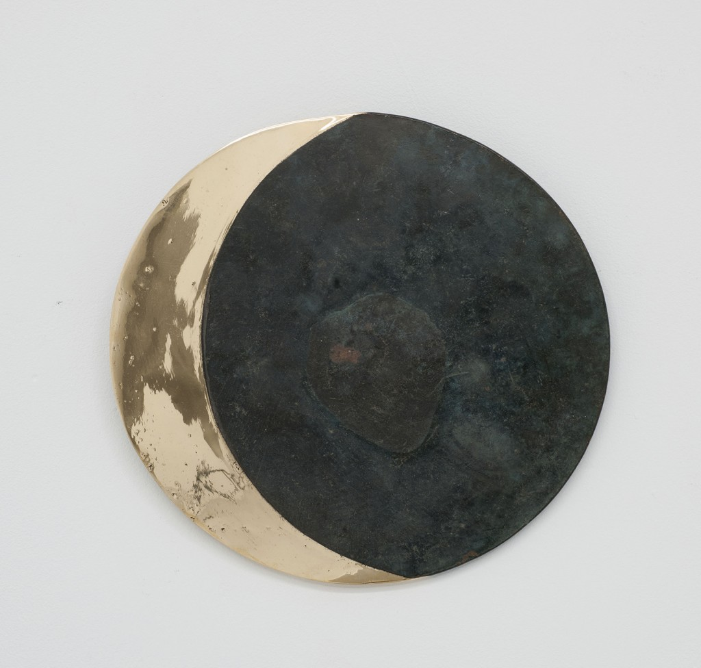 Fabrice Samyn: Untitled (2015). Chinese antique bronze mirror partially polished. Size/diameter 18 cm.