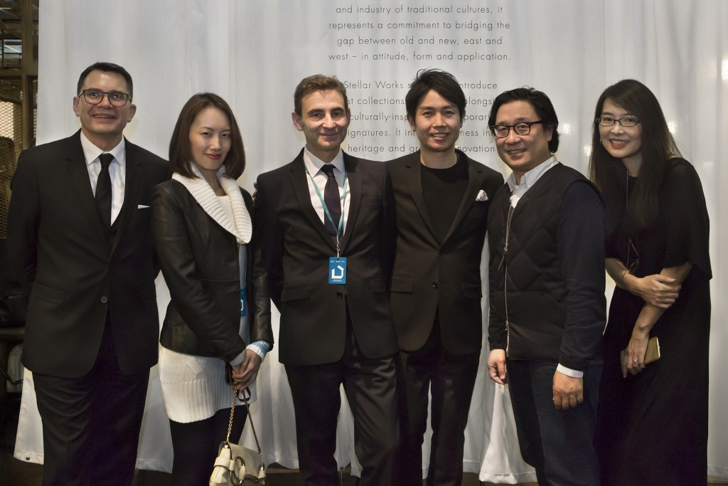 MIDDLE LEFT. Maison & Objet Paris general director Philippe Brocart with Maison & Objet team. MIDDLE RIGHT. Yuichiro Hori, founder and CEO of Stellar Works. RIGHT. Lyndon Neri and Rossana Hu of Neri & Hu, creative directors of Stellar Works.