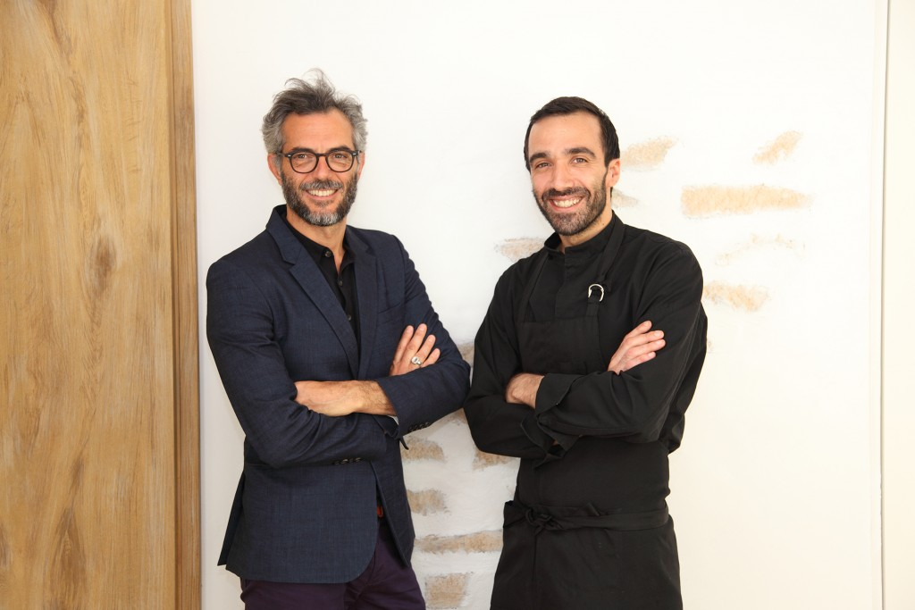 FROM LEFT. Perfumer Philippe Di Méo and chef Lionel Beccat.