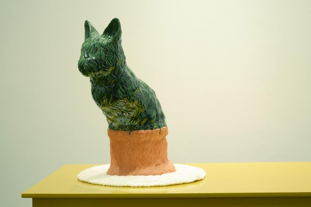 Pet Pussy, 2015 by Jessica Lajard Glazed Ceramic and Wool, 62 x 23 x 48