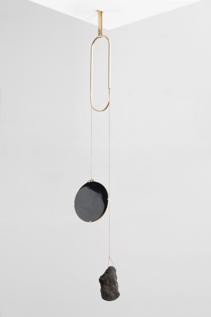 Formafantasma (Eindhoven, Netherlands, founded 2009): Andrea Trimarchi (Italian, b. 1983) and Simone Farresin (Italian, b. 1980) for Gallery Libby Sellers (London, England, United Kingdom, founded 2007); Iddu mirror, from De Natura Fossilium collection, 2014; Obsidian mirror, lava rock, brass; 150 × 40 cm (59 1/16 × 15 3/4 in.)