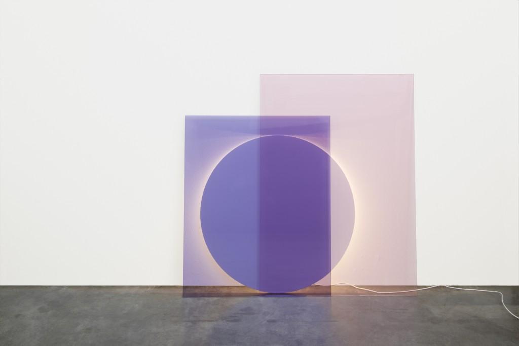 Daniel Rybakken (Norwegian, b. 1984) and Andreas Engesvik (Norwegian, b. 1970) for e15 (Frankfurt, Germany, founded 1995); LT04 COLOUR floor light, 2014; Solid-colored pink laminated glass, solid-colored blue laminated glass, signal white powder-coated steel; 105 x 75 cm (41 5/16 × 29 1/2 in.), 84 × 70 cm (33 1/16 × 27 9/16 in.), and 75 cm diam. (29 1/2 in.)
